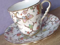 Antique Royal Stafford butterflies tea cup set by ShoponSherman,