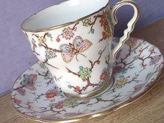 Antique Royal Stafford butterflies tea cup set by ShoponSherman,