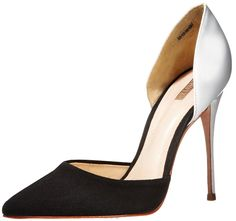 Schutz Women's Erendira Dress Pump,Black/Pearl,6.5 M US. A classic two-piece pump further distinguishes itself with contrasting texture and tones.