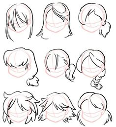 Cartoon hair, drawing poses, drawing tips, hair reference, drawing refere. Anime Drawings Sketches, Pencil Art Drawings, Cartoon Drawings, Easy Drawings, Hair Reference, Art Reference Poses, Drawing Reference, Drawing Poses, Drawing Tips