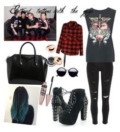 A fashion look from July 2016 featuring print shirts, red shirt and skinny jeans. Browse and shop related looks. Polyvore Outfits, 5sos, Maybelline, River Island, Givenchy, Shoe Bag, Tattoos, Clothing, Stuff To Buy