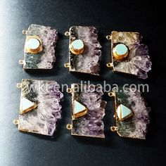 WT-P281 Natural slice amethyst charm pendants, gold electroplated stone bar pendants by WKTjewelry on Etsy