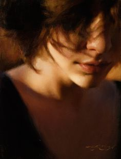 """Evening"" - Casey Baugh, realist {contemporary artist figurative realism beautiful female head brunette woman décolletage face portrait painting #loveart} Awesome !! <3 caseybaughfineart.com"