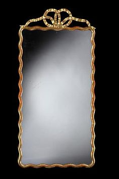 Rose Uniacke - Shop - A Rectangular Giltwood Mirror with and Undulating Frame and Bow Crest
