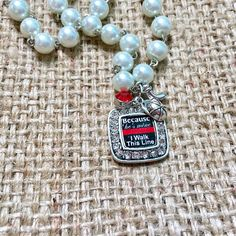 Firefighter Necklace, Fire Wife Necklace, Thin Red Line, Pearl Necklace, Fire Wife Jewelry, Fireman Wife Gift, Firefighter Gifts, Maltese