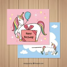 Birthday cards with hand drawn unicorns  Free Vector