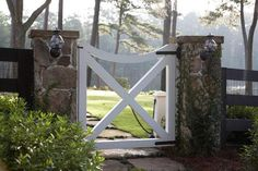 Fences & Gates | Open crisscross pattern wood gate