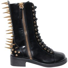 Giuseppe Zanotti Studded boot ($1,573) ❤ liked on Polyvore featuring shoes, boots, botas, giuseppe zanotti, black, black leather boots, leather shoes, studded zipper boots, real leather boots and black shoes