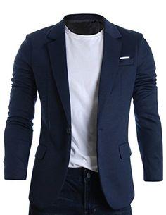 FLATSEVEN Mens Slim Fit Casual Premium Blazer Jacket Navy, Boys M (Chest 34) FLATSEVEN