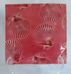 Hand Made Artisian Pottery Maroon Red Ceramic Sea Shell Impression Tile Trivet