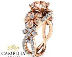 2 Carat Morganite Engagement Rings 14K Rose Gold by AyalaDiamonds