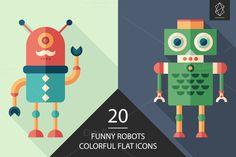 Funny robots colorful flat icon set by Yury Velikanov on Creative Market