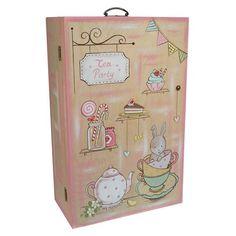 Χειροποίητη ξύλινη ντουλάπα ζωγραφισμένη στο χέρι σε φυσικές αποχρώσεις του ξύλου, σάπιου μήλου και βεραμάν με θέμα Tea Party. Αυτό το πολύχρωμο και χαρούμενο κουτί αποτελεί την καλύτερη επιλογή για μια vintage βάπτιση με ρομαντική διάθεση και θα παραμείνει ένα στολίδι στη διακόσμηση του δωματίου της μικρής αργότερα ως κουτί αποθήκευσης. Διαστάσεις: 37x20x58cm #vaptisi #κουτίβάπτισης #βάπτιση #happy #decor Suitcase, Party, Parties, Briefcase