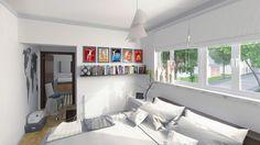 Dormitorio de vivienda unifamiliar. Proyecto por Larrad Arquitectura. Render por Pablo A. Martín (Icaras). www.icarasarquitectura.com