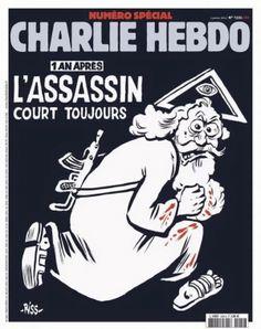 """La couverture choc de Charlie Hebdo - """"1 an après, l'assassin court toujours"""""""