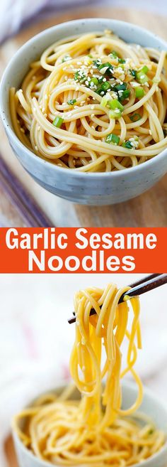 Garlic Sesame Noodles – Asian-flavored spaghetti with soy sauce, oyster sauce, garlic and sesame. Easy and delicious recipe that takes 15 mins to make | rasamalaysia.com