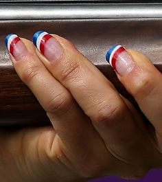 patriotic nails - Get The Look: A Simple Olympic Nail Art Design - would also be great Labor Day, . Fingernail Designs, Nail Polish Designs, 4th Of July Nails, July 4th, Usa Nails, Manicure And Pedicure, Pedicures, Manicure Ideas, Nail Tips