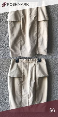 Zara tan pencil mini skirt Zara tan pencil mini skirt. Worn a few times. In good condition, has a small snag on the front, not noticeable. Zipper on the back. Zara Skirts Mini