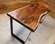 Black Walnut Live Edge Desk / Table // Wood // Handmade // Wood Slab // Custom Made to Order // Live Edge Wood, Live Edge Table, Wood Desk, Wood Table, Dining Table, Live Edge Tisch, Live Edge Furniture, Wood Ceilings, Wood Slab