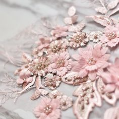 Beaded Lace, Beaded Embroidery, Embroidered Lace, Flower Embroidery, Embroidery Bags, Tulle Lace, Crochet Lace, Applique Wedding Dress, Flower Applique