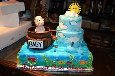 """Baby on the Boat"" Baby Shower Cake Bittersweet Bake Shoppe Tyngsboro, Massachusetts"