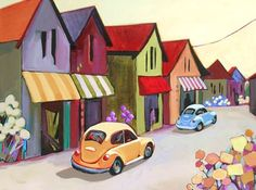 Holloway Heights, contemporary urban scene painting, painting by artist Carolee Clark