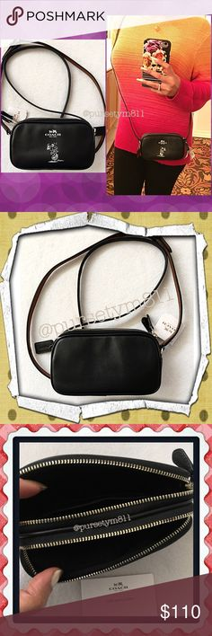 "Authentic Coach Limited Edition Snoopy Bag 100% AUTHENTIC! Beautiful limited edition leather crossbody bag from Coach! Color: Black (gorgeous) Length 7"" Height 4"" Width 1 1/2"" w/ adjustable & detachable long strap. Silver tone hardware. New w/ tag. PRICE IS FIRM! Coach Bags Crossbody Bags"