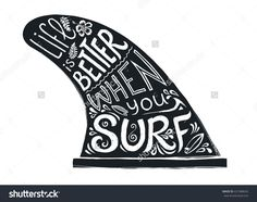 6894969f0b8e Black and white hand drawn vector doodle style surfboard fin with lettering  sign