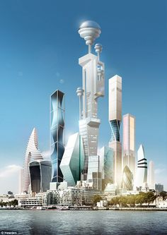 architecture Futurologist Dr Pearson believes that by supertall buildings (illustrated) will have artificial intelligence 'personalities' and will be able to 'talk' to people. Architecture Unique, Futuristic Architecture, Architecture Images, Chinese Architecture, Architecture Office, Futuristic City, Futuristic Design, Ville Cyberpunk, Sci Fi City