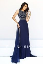 Online Shop Dark Royal Blue Red Chiffon Long Prom Dresses With Crystal And Beads 2014 New Arrival Party Evening Gowns|Aliexpress Mobile