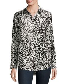 TD6A9 Equipment Slim Signature Animal-Print Shirt, Nature White/True Black