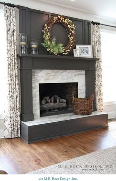 What I like is the rhythm and proportion of light and dark.  So it could be dark wood, dark upper, light tile, dark hearth face.