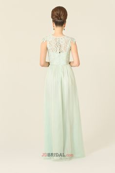 Brisk Scoop Short Sleeves A-Line Chiffon with Lace Empire Drapped Shop Bridesmaids Dresses
