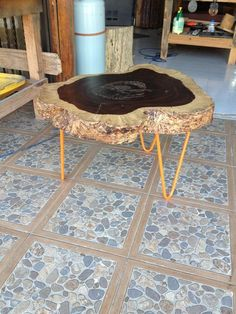 Log slab coffee table - Unique Wood & Iron