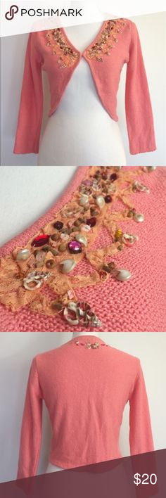 Free people pink shrug adorned w/ shells & jewels This shrug is in good condition. It has jewels and shells around it, even on the back. Size small. #anthropology #freepeople Free People Sweaters Shrugs & Ponchos