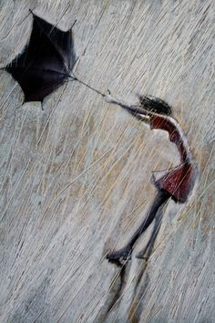 Storm 2009 Original Oil painting print on by imudrov.when I saw this it immediately reminded me of us in the parking lot at Disneyland that sweet, stormy day when my umbrella did just that. Rain Painting, Painting Prints, Art Print, Arte Black, Rain Art, Umbrella Art, Umbrella Painting, Walking In The Rain, Amazing Paintings
