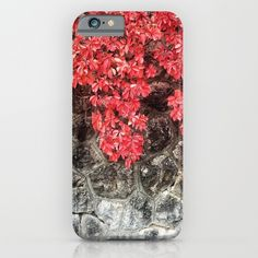 Red ivy leaves autumn stone wall iPhone & Samsung Galaxy Case by #PLdesign #autumn #fall #leaves
