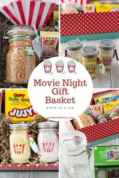 Need an easy Christmas gift idea that is simple to make? This Movie Night Gift Basket is a gift in a jar gift idea anyone on your Christmas list will love. Make this Movie Night Gift In A Basket for a secret Santa swap or for a fun Gift In a Jar ideas. Date Night Gift Baskets, Movie Basket Gift, Movie Night Gift Basket, Date Night Gifts, Movie Gift, Cookie Gift Baskets, Homemade Gift Baskets, Themed Gift Baskets, Diy Gift Baskets