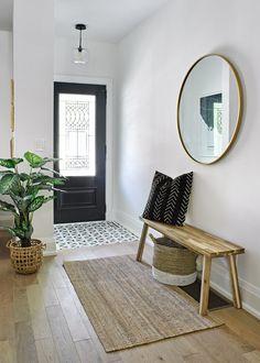 Transitional Kitchen in Riverdale Toronto — designstrom Tiled Hallway, Hallway Ideas Entrance Narrow, Modern Hallway, Grand Entrance, Front Hallway, Entrance Ways, Entryway Ideas, Main Entrance, Front Entry