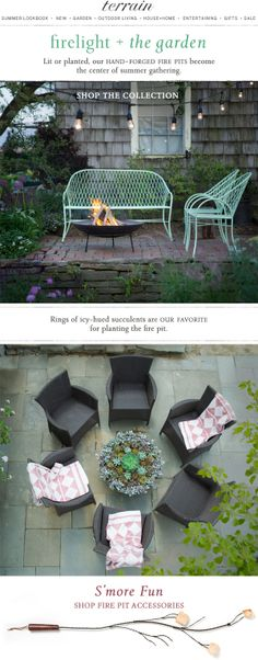 Firelight + The Garden: Light your fire pit, or plant it with cool succulent for a summer patio centerpiece. #firepit May 25, 2014