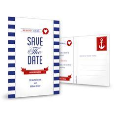 Die Save the Date Karte Elizabeth und William strahlt maritimes feeling aus, personalisieren Sie diese blau weiss getreifte Save the Date Karte nach Ihren Vorstellungen