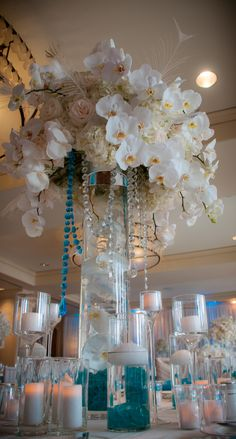 white orchids with splashes of blue