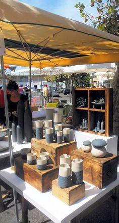 Market Stall Display, Farmers Market Display, Vendor Displays, Craft Booth Displays, Market Displays, Vendor Booth, Display Ideas, Booth Ideas, Pottery Booth Display