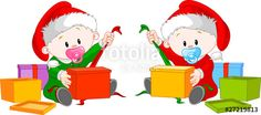 """Download the royalty-free vector """"Christmas twins open gift"""" designed by Anna Velichkovsky at the lowest price on Fotolia.com. Browse our cheap image bank online to find the perfect stock vector for your marketing projects!"""