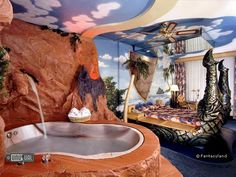 Fantasyland Hotel - Edmonton, Canada  Theme hotel, waterpark and shopping mall combined. 118 fantasy theme rooms available in 11 styles, hit the sack in the back of a pick-up in a Truck Room, relax in a classical Roman room or escape to the islands in a Polynesian room.