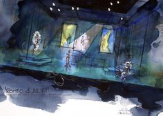 Presentation watercolor of Romeo and Juliet for the American Globe Theatre