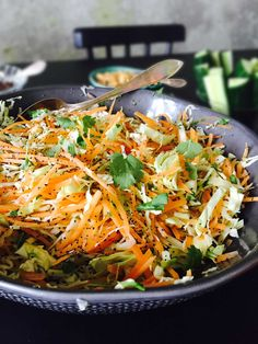 Indian inspired salad with coriander and poppy seeds. Light and healthy side dish for those spicy Indian dishes. Easy recipe here: MyCopenhagenKitch. Indian Salads, Indian Appetizers, Indian Snacks, Indian Side Dishes, Main Dishes, Indian Cookbook, Indian Food Recipes, Ethnic Recipes, Cabbage Soup
