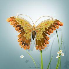 Van Cleef & Arpels Œil de Tigre Butterfly clip  - Yellow gold, diamonds, yellow sapphires, spessartite garnet, tiger's eye. #VCAspring #HighJewelry Discover more Flying Beauties creations: http://goo.gl/nqh7kf