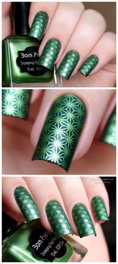 How to use nail art accessories to create unique designs 00064 Best Gel Nail Polish, Green Nail Polish, Nail Polish Designs, Green Nails, Nail Designs, Shiny Nails, Stamping Nail Art, Pretty Nail Art, Nail Envy