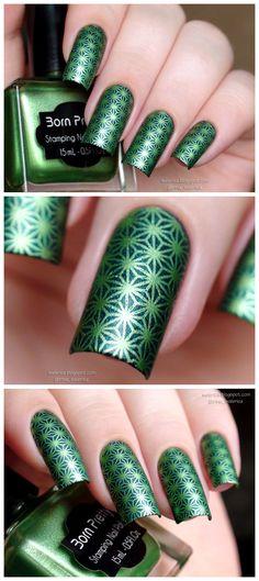 $7.99 15ml Shimmer Born Pretty Nail Art Stamping Polish Green Nail Polish 37# - BornPrettyStore.com